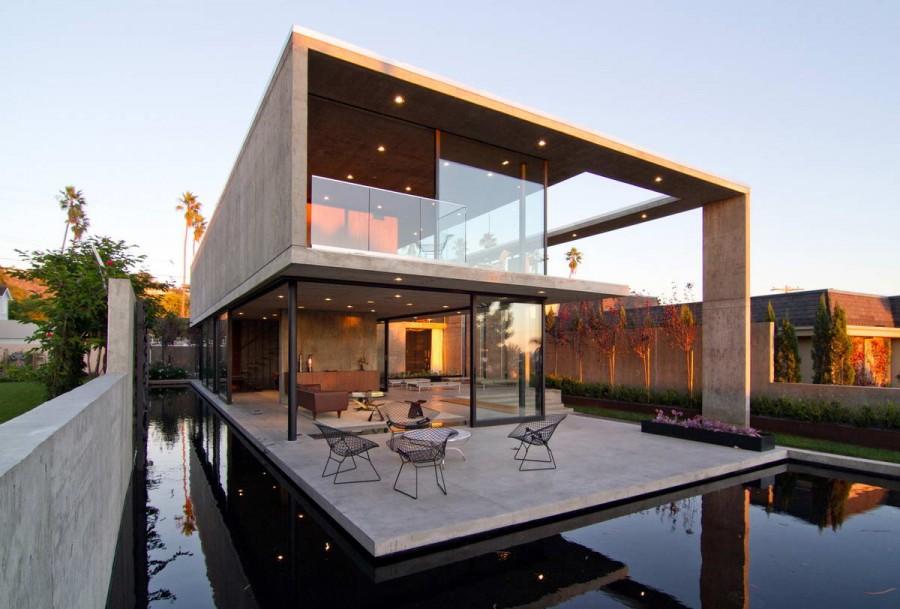 дома бетон стекло