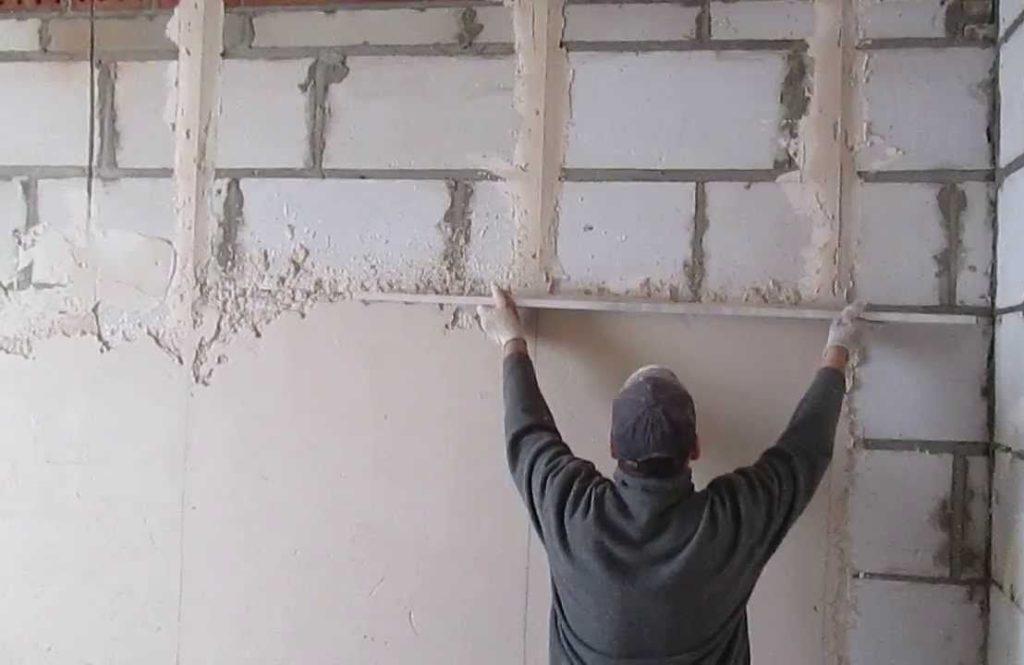 Как правильно штукатурить стену из пеноблоков цементным раствором бетоны алюминиевые цена